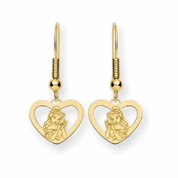 Gold-plated Disney Belle Silhouette Heart Wire Dangle Earrings