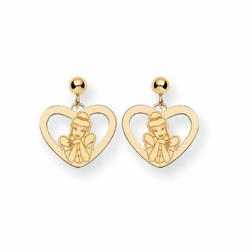 Gold-plated Disney Cinderella Heart Post Dangle Earrings
