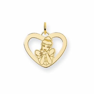 Gold-plated Disney Cinderella Silhouette Heart Charm