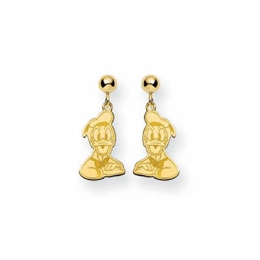 Gold-plated Disney Donald Duck Post Dangle Earrings