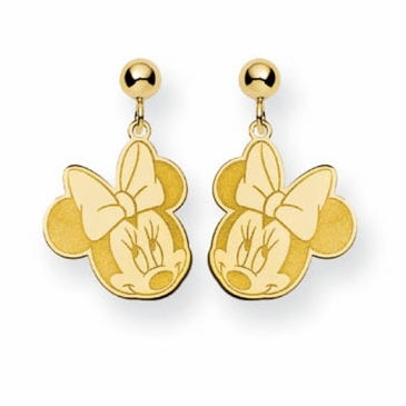 Gold-plated Disney Minnie Mouse Cutout Heart Post Dangle Earrings