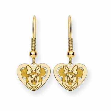 Gold-plated Disney Minnie Mouse Cutout Heart Wire Dangle Earrings