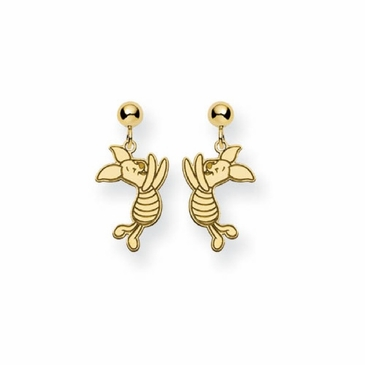 Gold-plated Disney Piglet Post Dangle Earrings