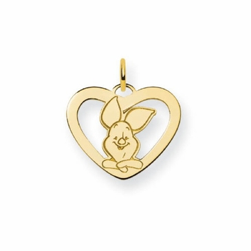 Gold-plated Disney Piglet Silhouette Heart Charm