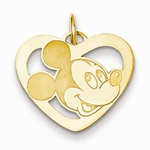 Gold-plated Disney Small Mickey Mouse Silhouette Heart Charm