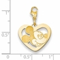 Gold-plated Disney Small Mickey Mouse Silhouette Heart Charm with Lobster Clasp - click to Enlarge