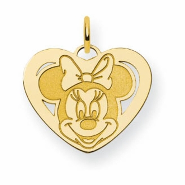 Gold-plated Disney Small Minnie Mouse Cutout Heart Charm