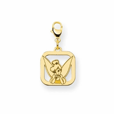 Gold-plated Disney Small Tinker Bell Portrait Silhouette Square Charm with Lobster Clasp