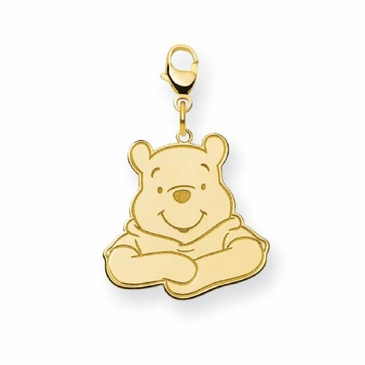 Gold-plated Disney Small Winnie the Pooh Portrait Charm with Lobster Clasp