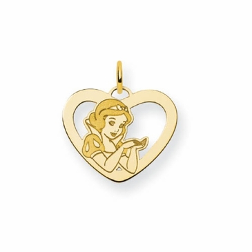 Gold-plated Disney Snow White Silhouette Heart Charm