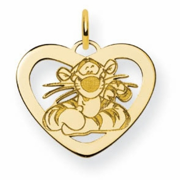 Gold-plated Disney Tigger Silhouette Heart Charm