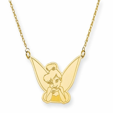 Gold-plated Disney Tinker Bell Portrait Pendant Necklace