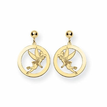 Gold-plated Disney Tinker Bell Silhouette Circle Post Dangle Earrings