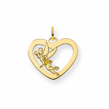 Gold-plated Disney Tinker Bell Silhouette Heart Charm