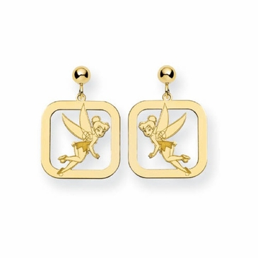 Gold-plated Disney Tinker Bell Silhouette Square Post Dangle Earrings