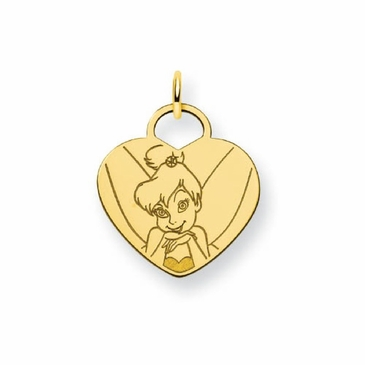 Gold-plated Disney Tinker Bell Solid Heart Charm