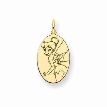 Gold-plated Disney Tinker Bell Solid Oval Charm