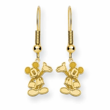 Gold-plated Disney Waving Mickey Mouse Wire Dangle Earrings