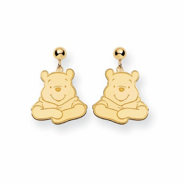 Gold-plated Disney Winnie the Pooh Portrait Post Dangle Earrings