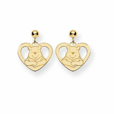 Gold-plated Disney Winnie the Pooh Silhouette Heart Post Dangle Earrings