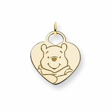 Gold-plated Disney Winnie the Pooh Solid Heart Charm