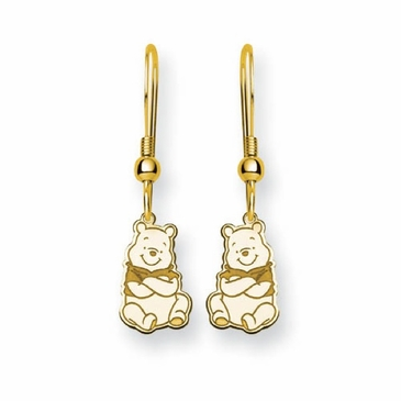 Gold-plated Disney Winnie the Pooh Wire Dangle Earrings
