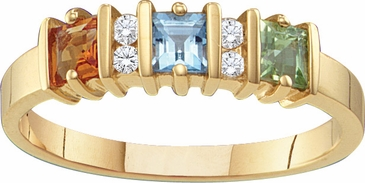 Gold Princess Cut Birthstone Ring
