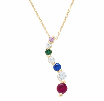 Gold Swerve Birthstone Necklace - with Genuine Stones