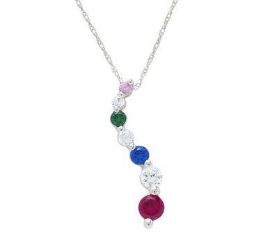 Gold Swerve Birthstone Necklace - with Simulated Stones