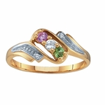 Gold Swirl Birthstone Ring