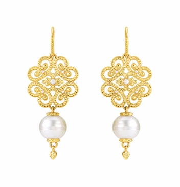 Granulated Pattern Natural Pearl Earrings