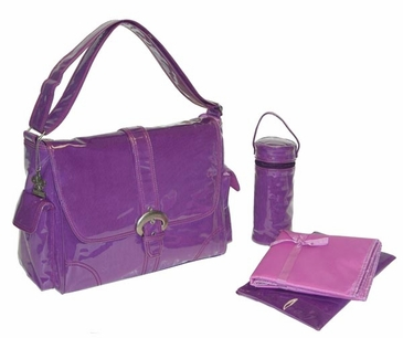 Grape Corduroy - Laminated Buckle Diaper Bag by Kalencom