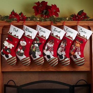 Green-and-Red Striped Toe Christmas Stockings