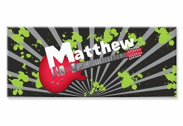 "Guitar Canvas Wall Art Personalized - 10"" x 24"""