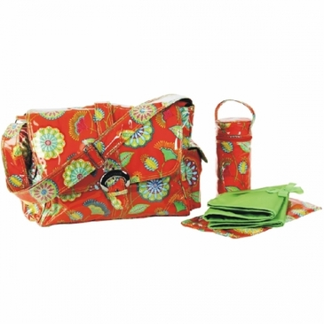 Gypsy Rose Orange Laminated Buckle Diaper Bag by Kalencom