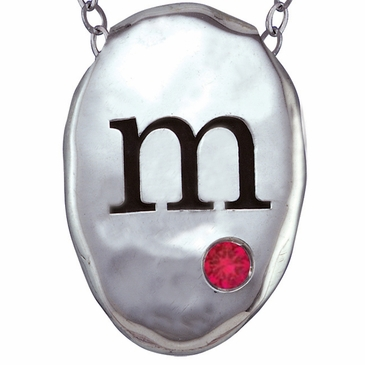 Hammered Oval Charm Necklace Personalized