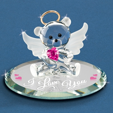 Handmade Angel Bear Glass Figurine