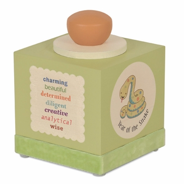 Handmade Chinese Zodiac Wooden Music Box - With Baby's Birth Year - Green