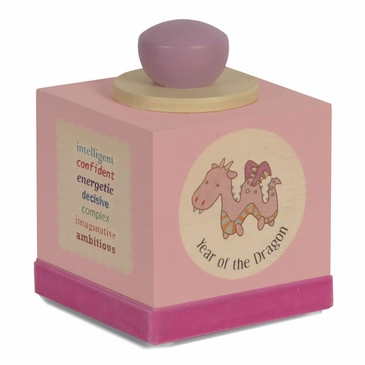 Handmade Chinese Zodiac Wooden Music Box - With Baby's Birth Year - Pink