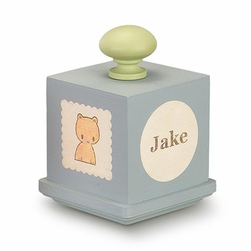 Handmade Personalized Baby Name Wooden Music Box - Blue