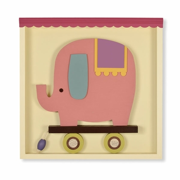 Handmade Pink Elephant Pull-Toy Wooden Wall Art - Personalized