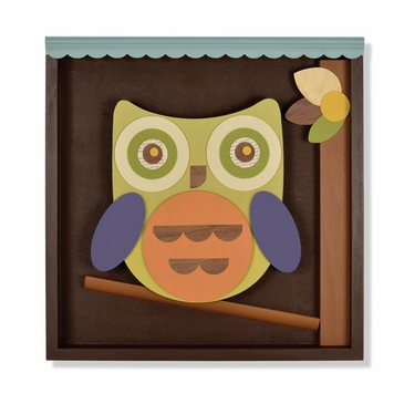 Handmade Wise Owl On A Perch Wooden Wall Art - Personalized