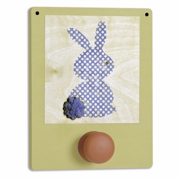 Handmade Wooden Wall Hook - Blue Bunny