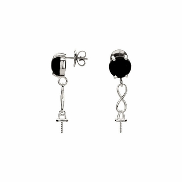 Hanging Genuine Onyx Peal Earrings