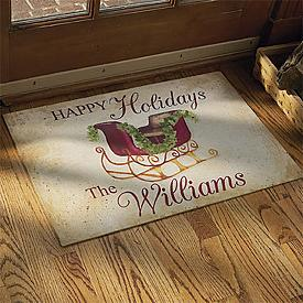 Happy Holidays Doormat - Personalized with Your Family Name