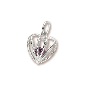 Heart Caged February Birthstone Charm by Forever Charms