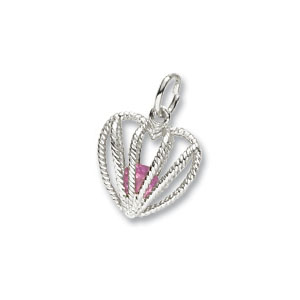 Heart Caged October Birthstone Charm by Forever Charms