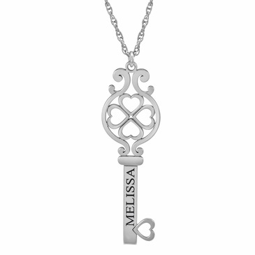 Heart Key Pendant - Personalized