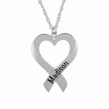 Heart Ribbon Personalized Pendant Necklace