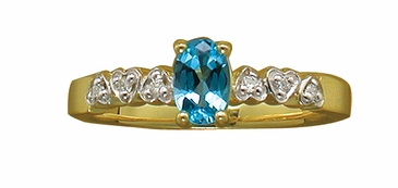 Hearts in a Row Birthstone and Diamond Ring